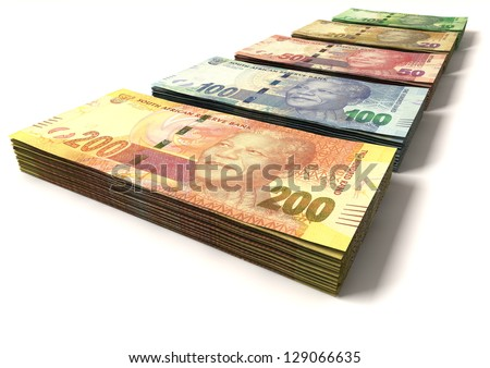 An assortment of all new south african notes in stacks depicting nelson mandela on an isolated background - stock photo