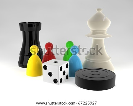 An assortment of boardgame pieces - stock photo