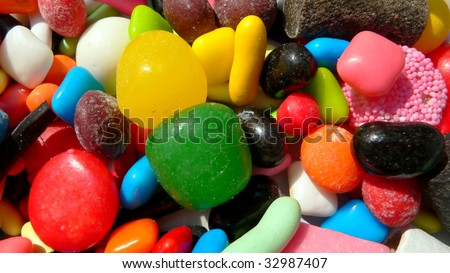An assortment of colorful candy(Background) - stock photo