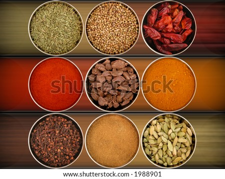 an assortment of different spices for cooking