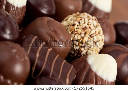 An assortment of fine chocolates in white, dark, and milk chocolate. Different chocolates on a background of cocoa powder. Delicious chocolates of various chocolate. - stock photo