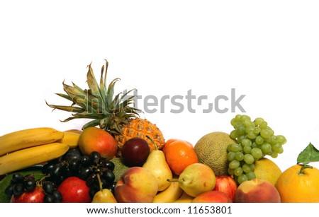 An assortment of fruits on a white background.