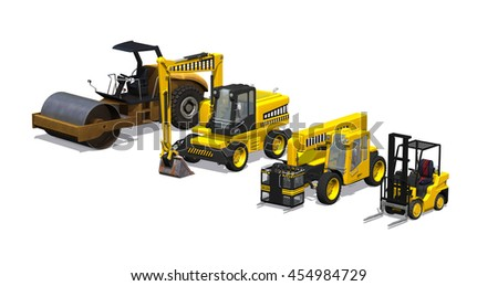 An assortment of heavy machinery including a road roller, excavator, telehandler and forklift - 3D render. - stock photo