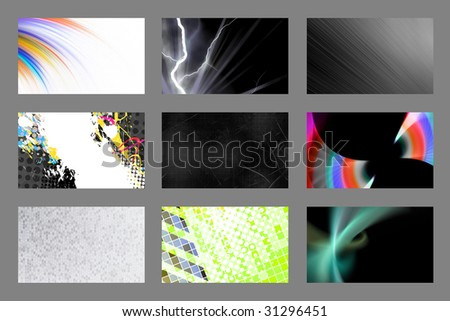 An assortment of 9 horizontal modern business card templates that are print ready and fully customizable. Easily add your text and logo. These include .25 inch bleed and trim to standard size. - stock photo