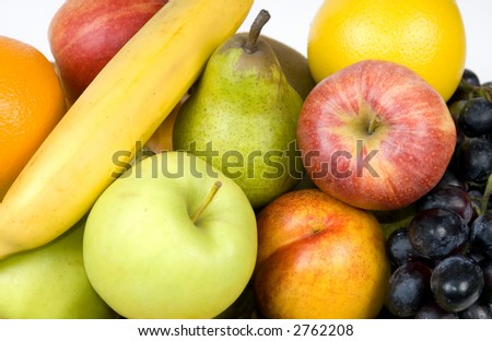 An assortment of mixed fruits in a basket