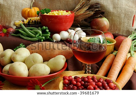 An Assortment Of Thanksgiving Foods - stock photo