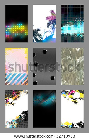 An assortment of 9 vertical modern business card templates that are print ready and fully customizable. Easily add your text and logo. These include .25 inch bleed and trim to standard size. - stock photo