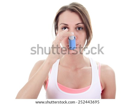 An asthma young adult over white background - stock photo