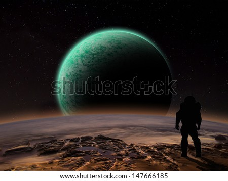 An astronaut watches an alien planet rise over a rocky moon. Sci-fi Fantasy artwork.