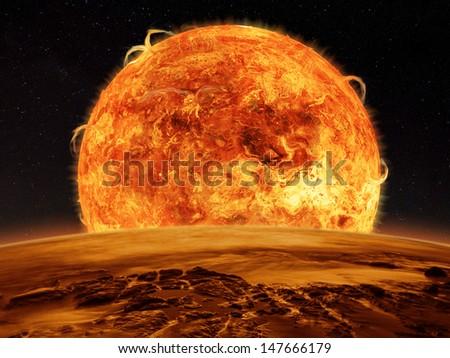 An astronaut watches an alien sun rises over a rocky moon. Sci-fi Fantasy artwork. - stock photo