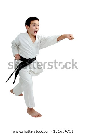 An athlete with a black belt beat a punch arm - stock photo