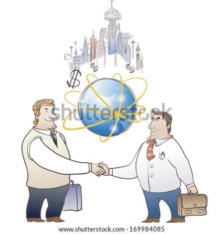 An atom icon and dollar signs with two men standing on either side shaking hands with a skyline in the background. - stock photo