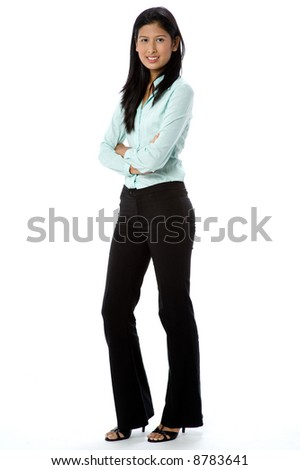An attractive Asian businesswoman on white background