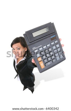 An attractive asian woman holding a calculator