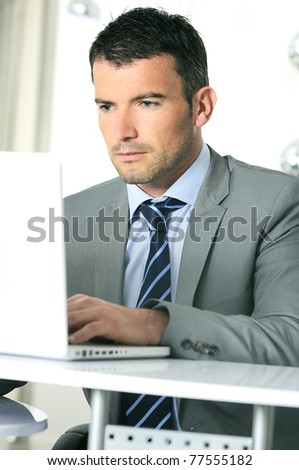 An attractive business man is working on computer - stock photo