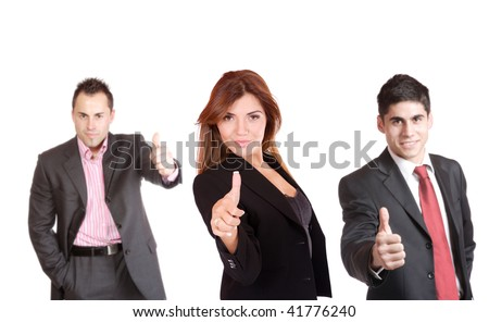 An attractive, business team meeting as a group - stock photo