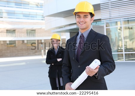 An attractive business team working construction on the building site