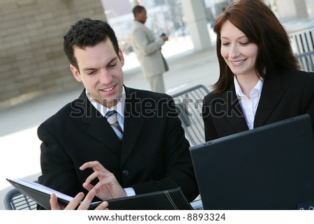 An attractive business team working outside the office