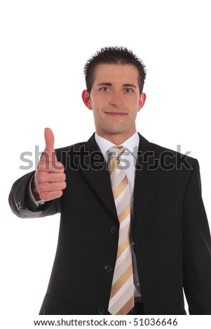 An attractive businessman making a positive gesture. All on white background.