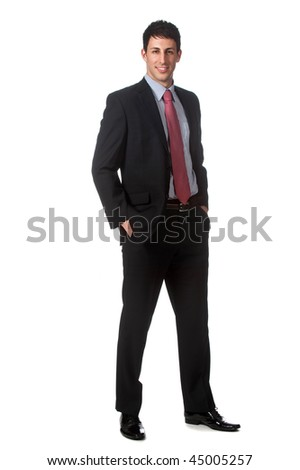 An attractive businessman standing against white background - stock photo