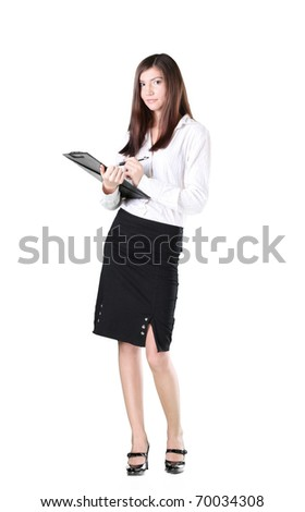An attractive, competent looking business woman with a briefcase.