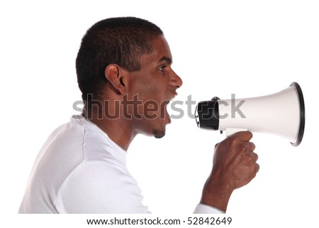 An attractive dark-skinned man using a megaphone. All on white background.