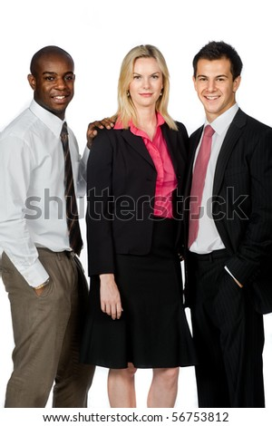An attractive group of professionals standing together on white background