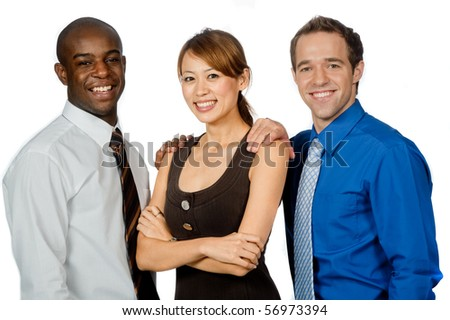 An attractive group of professionals standing together on white background - stock photo