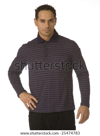 An attractive man is in a grey shirt. It is insulated on a white background.