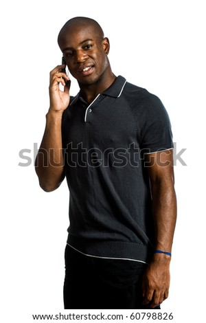 An attractive man talking on his mobile phone against white background - stock photo