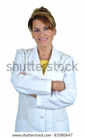 An Attractive Middle Aged Woman Wearing a Lab Coat - stock photo