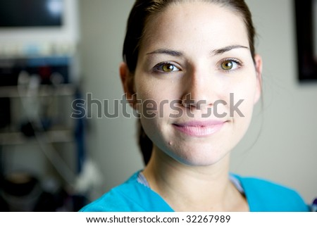 An Attractive Nurse working in a hospital - stock photo