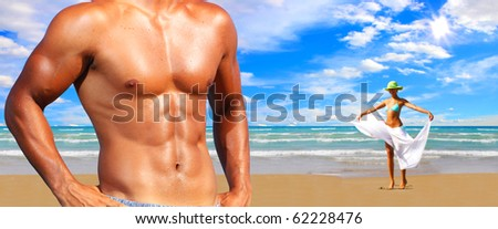 An attractive on the beach - stock photo