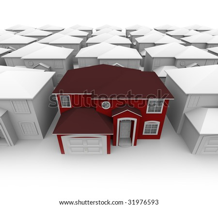 An attractive red home stands out in a plain neighborhood - stock photo