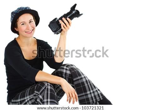 portrait beautiful young woman standing her stock photo cross pens logo cross pens gold