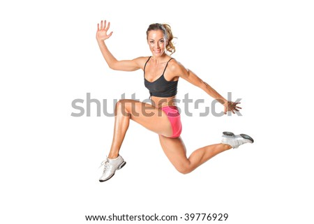 An attractive woman in a jump isolated on white background - stock photo