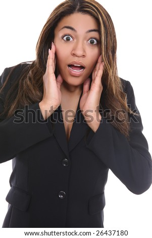 An attractive young african american business woman looking shocked - stock photo