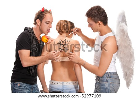 An attractive young blond woman  between a beautiful angel and devil man - stock photo