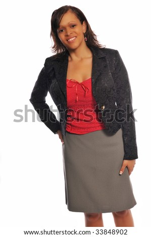 an attractive young business woman showing her style
