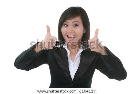 An attractive young female asian woman with thumbs up