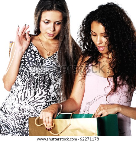 An attractive young lady out shopping. - stock photo