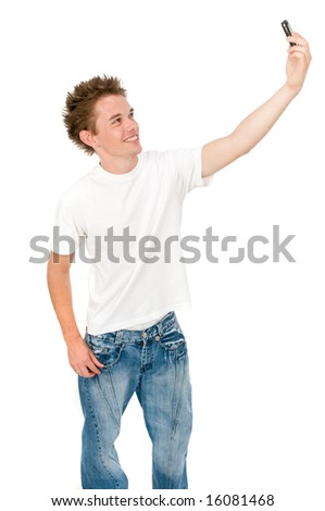 An attractive young man taking a photo of himself