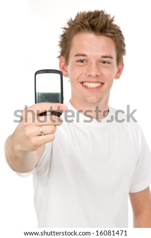 An attractive young man taking a photo of himself - stock photo