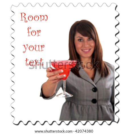 an attractive young woman enjoys her cocktail, isolated on white, with room for your text, stamp - stock photo