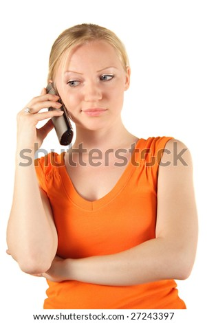 An attractive young woman making a phone call. All on white background.