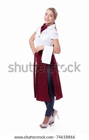 An attractive young woman on a white background - stock photo