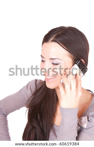 An attractive young woman with mobile phone on white background