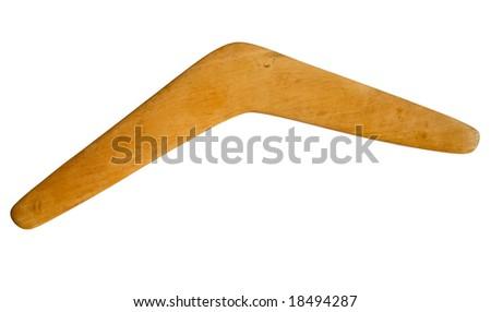 An Australian boomerang isolated over white. - stock photo