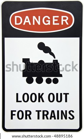An Australian danger sign warning for trains with clipping path - stock photo