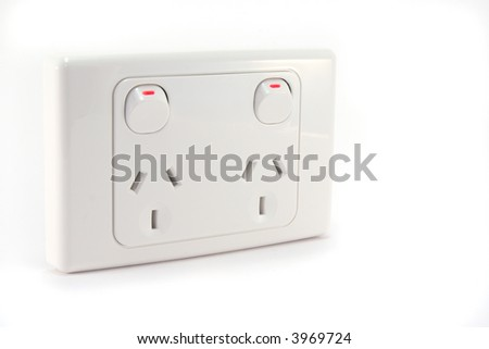 An Australian power outlet on a white background. - stock photo